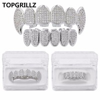 TOPGRILLZ New Custom Fit Silver Plated CZ Micro Pave Top Bottom CUSTOM GRILL SET Rhodium Teeth