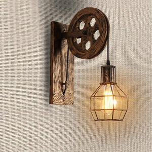 Image 3 - רטרו לופט אור תליון השעיה אור הרמת גלגלת קיר מנורת מעבר מסעדת פאב קפה אור חזיית פמוט פנס