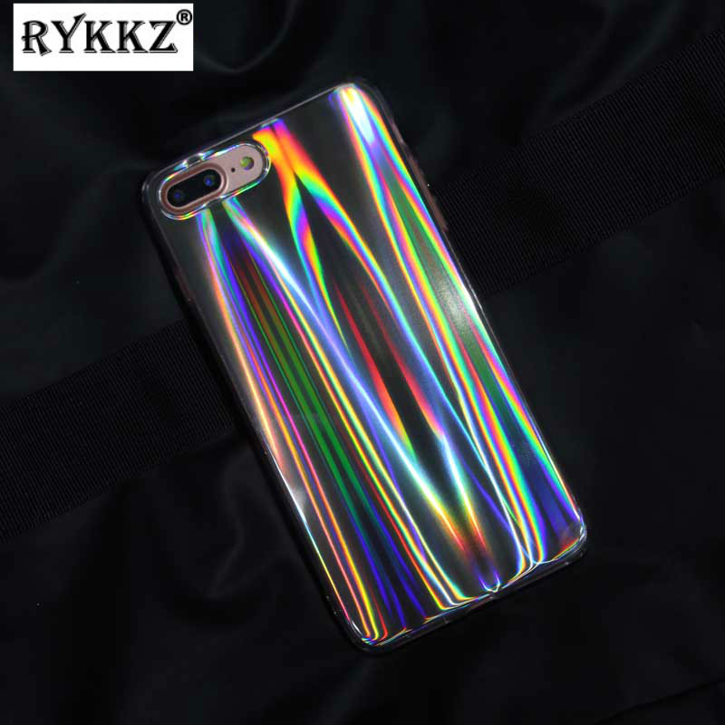 Glossy Glitter Hologram Iridescent Laser IMD Soft TPU Cover Capa Coque For iPhone 6 6s 7 8 Plus X Rainbow Shining Case Hoesjes