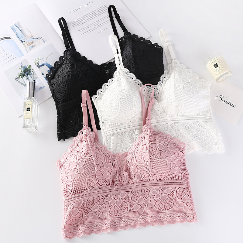 Women Lace Top <font><b>Encaje</b></font> Floral <font><b>Sexy</b></font> Outfit <font><b>Bralette</b></font> Croptop Padded No Steel Comfortable Brallete Tops Adjusted Top <font><b>Encaje</b></font> <font><b>Mujer</b></font> image