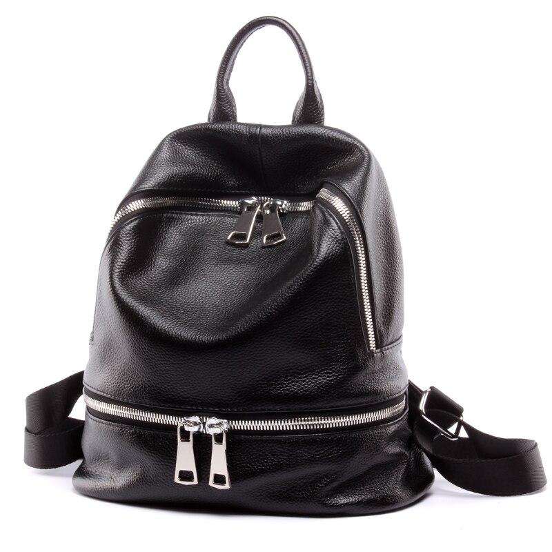 Fashion 2018 Women 100 %Genuine Leather Designer Backpack Black Female Small Travel Backpack For Teenage Girls ;Sac A Dos Femme цена