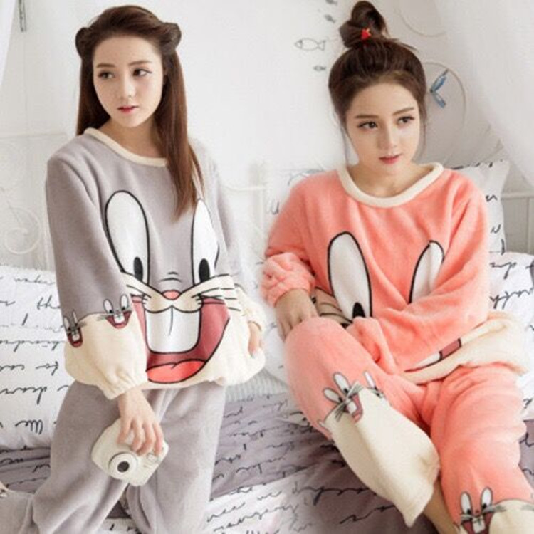b914a4a675 Autumn and winter cute cartoon flannel pajamas female spring and autumn  thick coral fleece long-sleeved home service suits