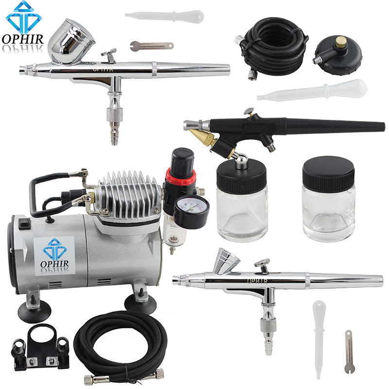 OPHIR 0.2mm 0.3mm 0.8mm 3-Airbrush Kit w/ 110V,220V Air Compressor for Hobby Model Painting Craft Art Paint _AC089+004A+071+073 ophir model airbrush compressor kit set 110v 220v air tank compressor w airbrush paint for makeup hobby nail art tool ac090 006