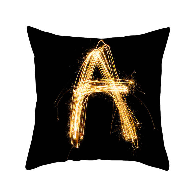 Fuwatacchi Gold Letter Alphabet Printed Pillowcase Decorative Pillows Cushion Cover Use for Home Sofa Car Office Almofadas New in Cushion Cover from Home Garden