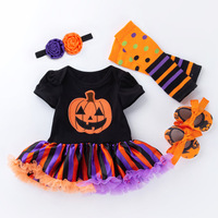 Newborn Baby Girl Clothes Sets Infant Fashion Halloween Costume Pumpkin Tops+Leggings+Shoes+Headband 4PCS Baby Girl Clothing