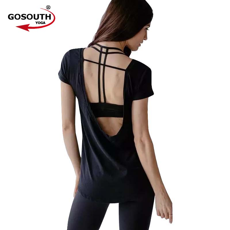 Women Sexy Yoga Shirts Sports T Shirt Fitness Gym Running Short Sleeve Sports T Shirt Fitness Gym Tops Tee Quick Dry F-27
