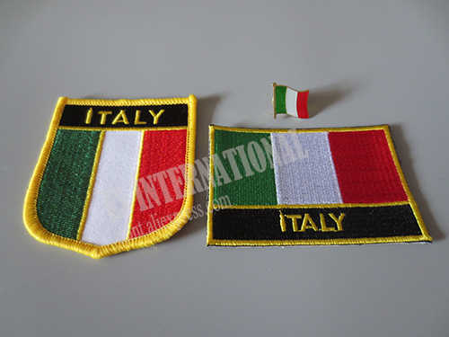 Bendera Nasional Bordir Patch dan Bendera Logam Kerah Pin Italia