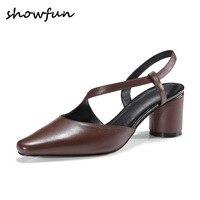4 Cores de couro genuíno das mulheres slip-on bombas marca designer bico fino slingback verão confortáveis sapatos de salto alto plus size