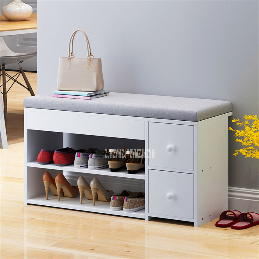 C3008-1 MDF Shoes Cabinet With 2-Drawer Cotton-Flax Cushion Shoe Storage Stool Living Room Shoe Rack Change Shoe Bench Organizer