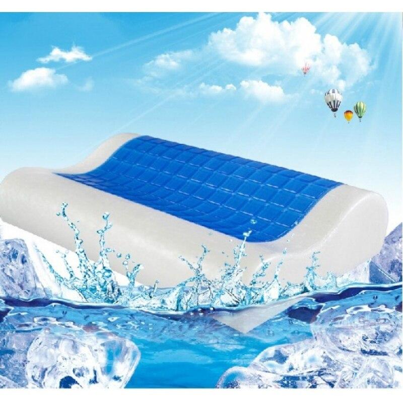 30x50 cm mémoire mousse orthopédique sommeil bleu Gel de refroidissement lit mémoire coton hydrogel cou haut de gamme oreiller coussin