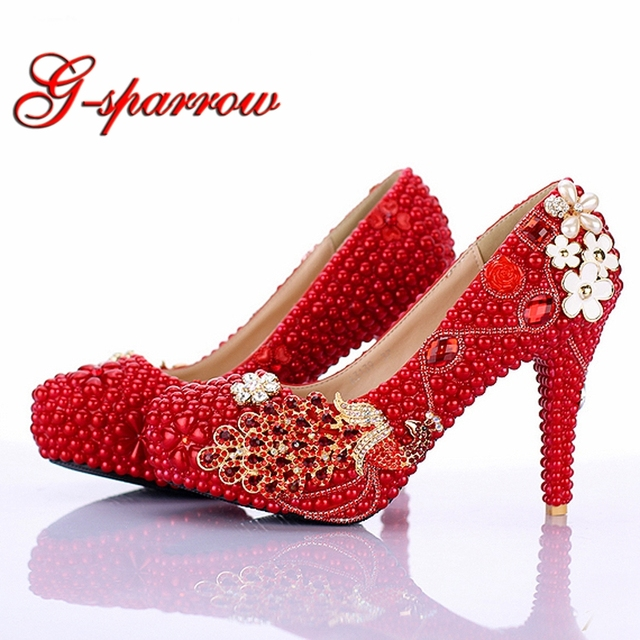 Red Pearl Bridal Shoes 2018 New Design Phoneix Girl Wedding Shoes 4 Inch  High Heel Anniversary 71854ca5e915