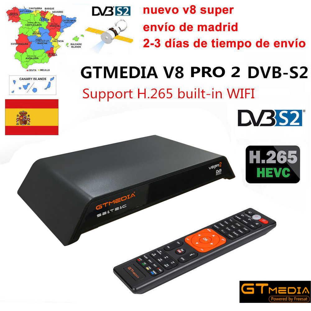Freesat V8 PRO2 Combo Ricevitore Satellitare Con Trasporto 1 Anno Europa 5 Clines Server Cccam Supporto DVB-S2 + T2/C Biss Chiave pk v8 dorato