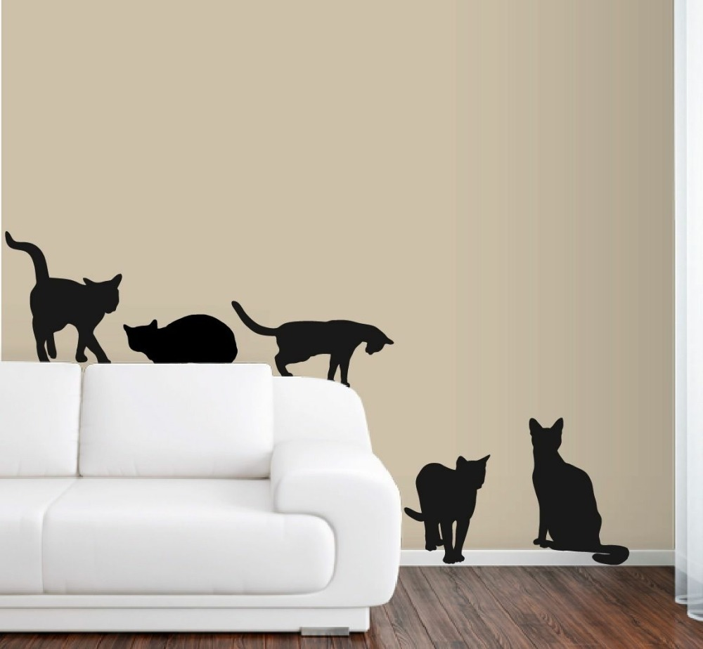 6 cats wall decals in life size deco art sticker mural for Deco mural stickers