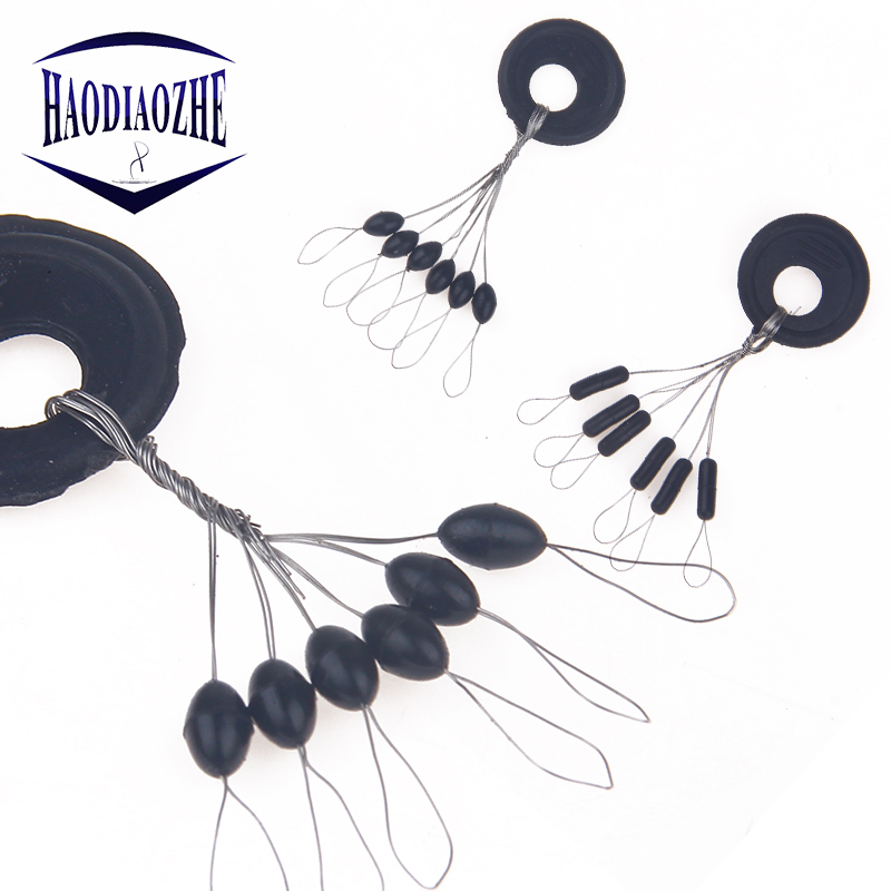 HAODIAOZHE 10 Groups 60pcs Fishing Accessories Tackle Resistance Space Not Hurt The Line Vertical Beans Rod Clip/o-shaped YU156