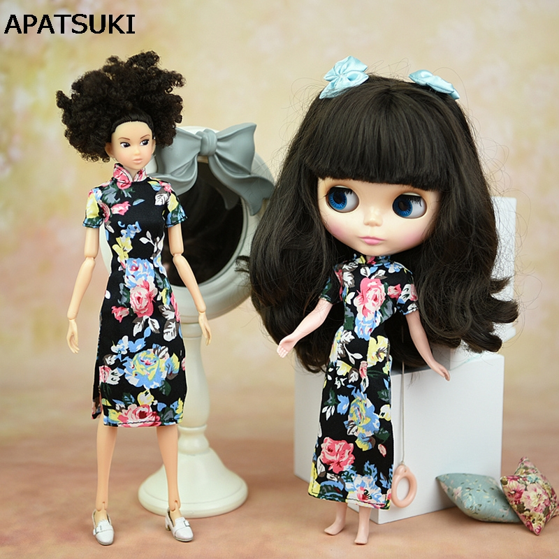 Doll Accessories Handmade Dress Clothes For Barbie Doll Cheongsam Chinese Dress Vestido Qipao Evening Dresses For Blythe 1/6 autonomous design handmade gifts for girls doll accessories evening suit wedding dress clothes for barbie doll bbi00508