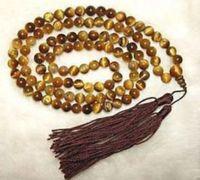 ジュエリー上質女性ギフト単語愛チベット108タイガーアイ祈り仏ビーズネックレス8ミリメートルナチュラルカラー
