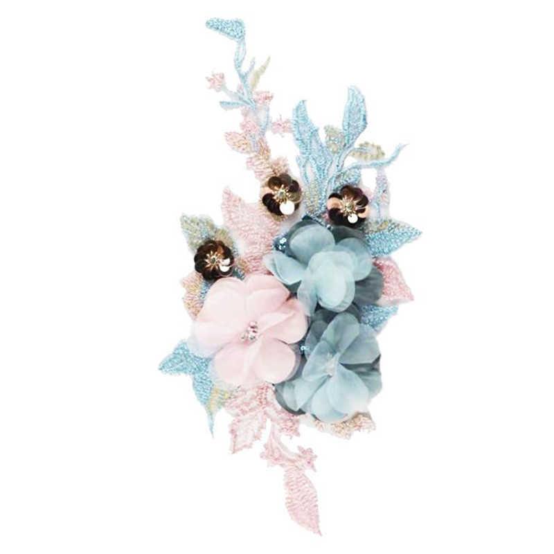 1Pc צבעוני 3D פרח רקמת תיקוני כלה תחרה תפירת בד Applique חרוזים טול DIY חתונה שמלה