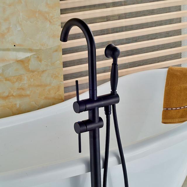 Black Bronze Floor Standing Bath Tub Faucet Free Standing Bath Shower Tub Filler  Brass Handshower Clawfoot Mixer Taps