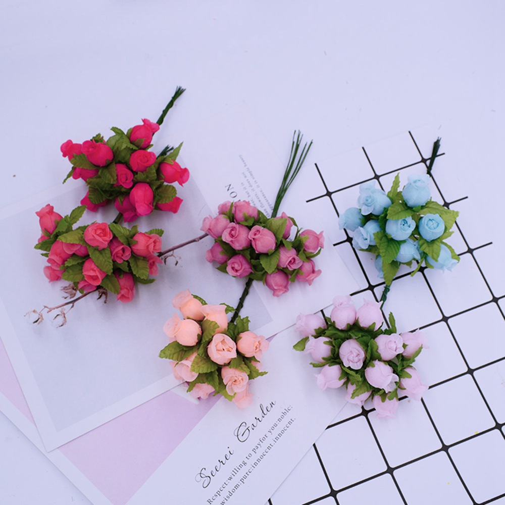 12pcs/Bundle MINI Silk Roses Artificial Flowers For Home And Wedding Decoration 1