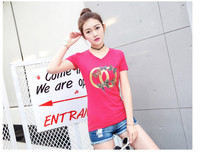Red Letters Print T Shirts Women Casual Short Sleeve 100% Cotton Slogan E1