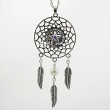 DC-00578 Trendy Style Wiccan Necklace Black Magick Pagan Pentagram Jewelry Silver Dream Catcher Necklace