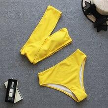 2019 Sexy Yellow High Waist Bikini Women Ribbed Swimsuit One Shoulder Swimwear Female Set Brazilian Bathing Suit Swim