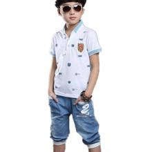 цены Set for Boys summer sets baby boy set 3 colors polo clothes kids tracksuit short sleeve t-shirt denim pant boy clothing 3-14T
