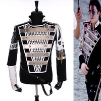 Classic MJ Bomber Punk HISTORY Jacket Men, MICHAEL JACKSON Costume Army Jacket With Stainless Steel Sequined Brand Clothing