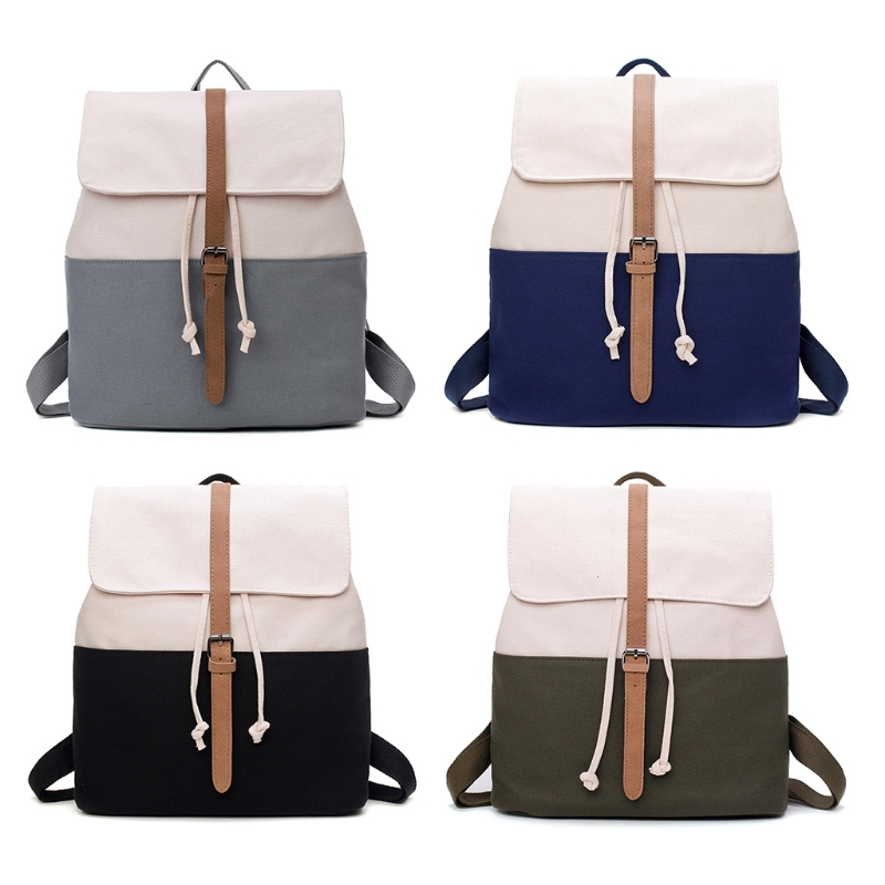 5 Contrast canvas backpack bag Drawstring Flap Contrast Canvas School Backpack Casual Travel Daypack drawstring contrast stripe jogger pants