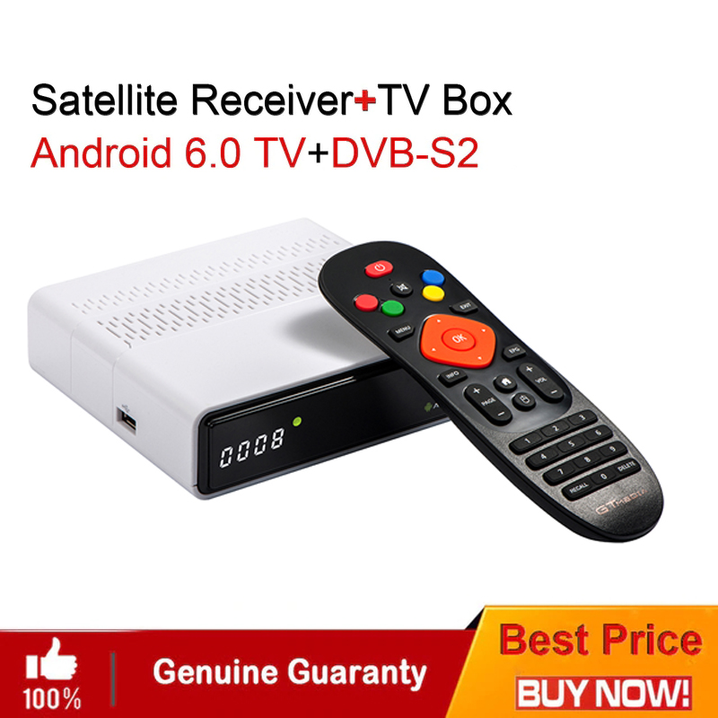 GTmedia GTS Satellite Receiver DVB-S2 dvb s2 Android 6.0 TV BOX+DVB-S/S2 Smart TV BOX 2GB RAM 8GB ROM S905D BT4.0 Set Top box спутниковый ресивер dvb s2 rolsen rdb 704