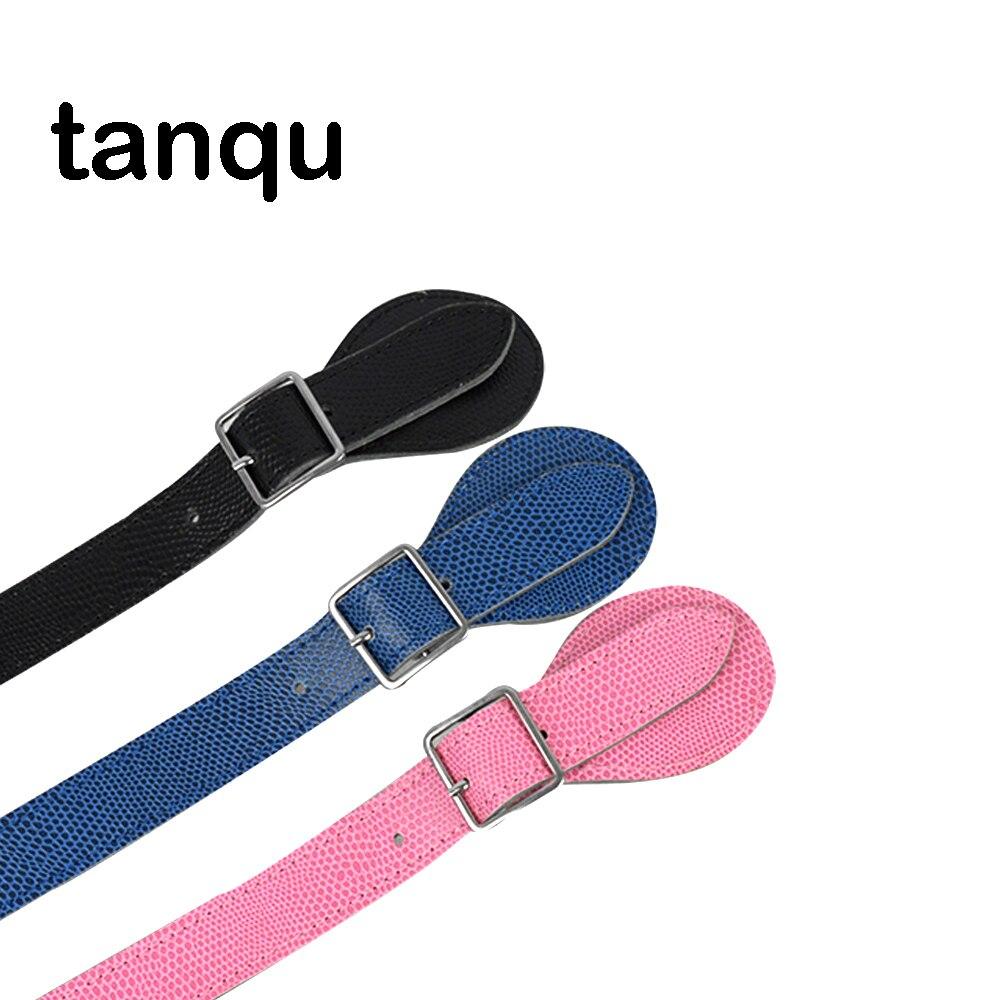 tanqu Short Long Lizard Grain Adjustable Flat Leather PU Handle for Obag Classic Mini O Chic chic metal hasp adjustable slender pu belt for women