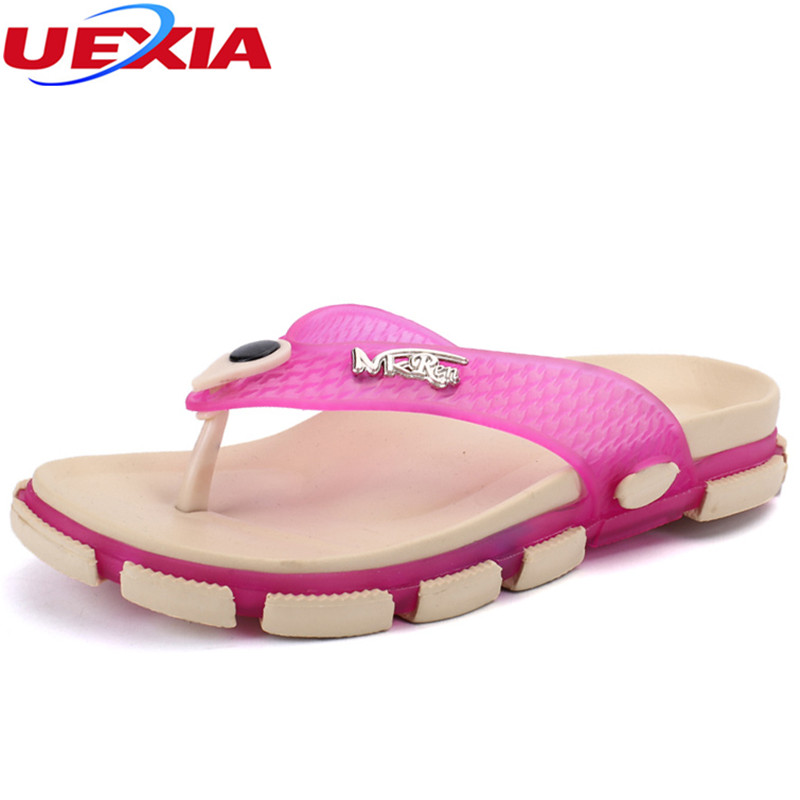 UEXIA Walking Summer Women Beach Breathable Slippers TPU Garden Mule Clogs Shoes For Flip-Flops Casual Fashion Beach Flip Flops lanshulan bling glitters slippers 2017 summer flip flops platform shoes woman creepers slip on flats casual wedges gold