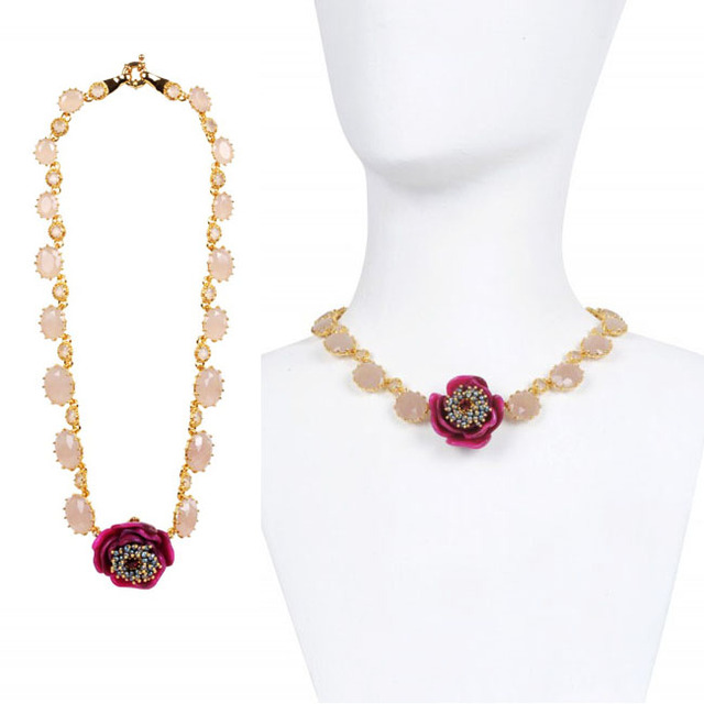 European fashion jewelry  les nereides cristal flower 24k gold plated Necklace party jewelry  -Free Shipping