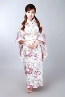 New Fashion Colorful Japanese Female Silk Kimono With Obi Sexy Vintage Yukata Floral Evening Dress Dropshipping