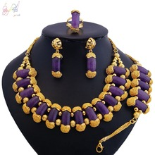 YULAILI Women Pure Gold Color Jewelry Set Necklace Earrings Bracelet Rings Sets Dress Accessories недорого