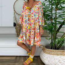 3/4 Sleeve Loose Dress 2019 Summer Thin Boho Beach Dresses Women Tunic Casual Tie V Neck Floral Print Midi Dress Plus Size 5XL