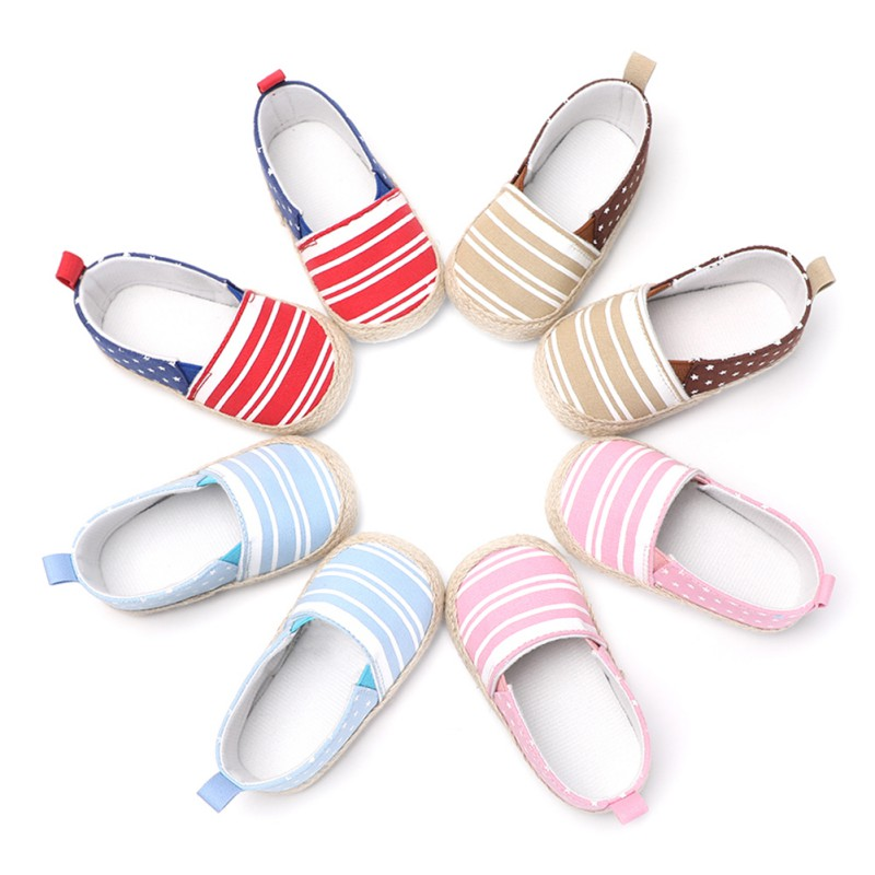 Newborn Baby Moccasins Unisex Shallow Striped Baby Shoes First Walkers Toddler Shoes Girls Boys Little Star 4 Color Summer 2018