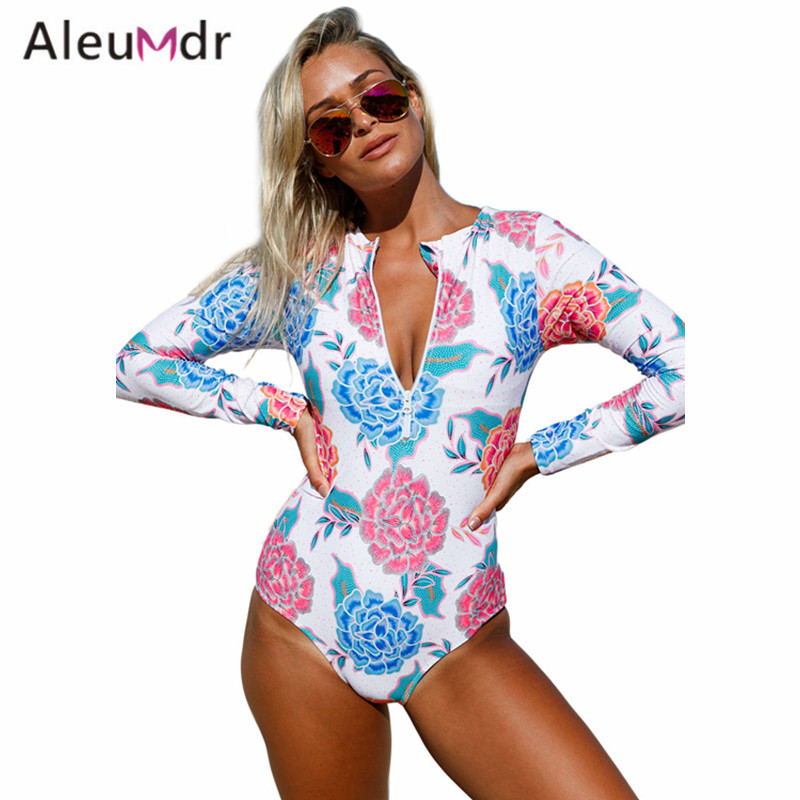 Aleumdr Swimming Suit For Women Sport Summer Print Zip Front One Piece Swimsuit LC410206 Maillot De Bain Une Piece Femme