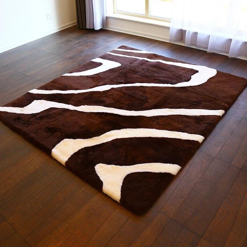AOZUN motif zèbre tapis en peau de mouton australien 100cm * 180cm incroyable design tapis en peau de mouton tapis pour salon chambre
