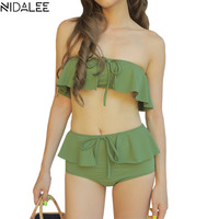 NIDALEE 2017 Sexy Solid Bikinis Women Push Up Brazilian Swimwear Bandeau Bikini Set Ruffle Off Shoulder