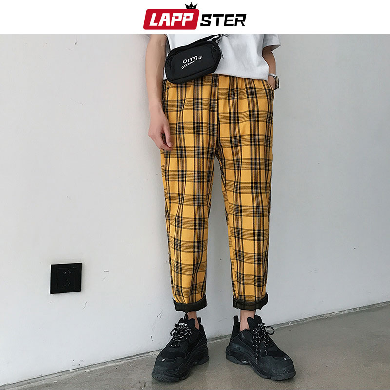 LAPPSTER Streetwear Yellow Plaid Pants Men Joggers 2019 Man Casual Straight Harem Pants Men Korean Hip Hop Track Pants Plus Size(China)