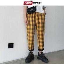 LAPPSTER уличная одежда, желтые клетчатые брюки, мужские джоггеры, мужские повседневные Прямые шаровары, мужские корейские хип-хоп спортивные штаны размера плюс