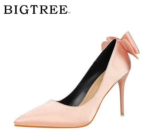 BIGTREE Spring and Autumn Pumps Women's Shoes High 10cm Korean Butterfly-knot Shallow Mouth Sweet Simple Sexy High-heeled Shoes bigtree spring summer women pumps sweet bow knot high heeled shoes thin pink high heel shoes hollow pointed stiletto elegant 22