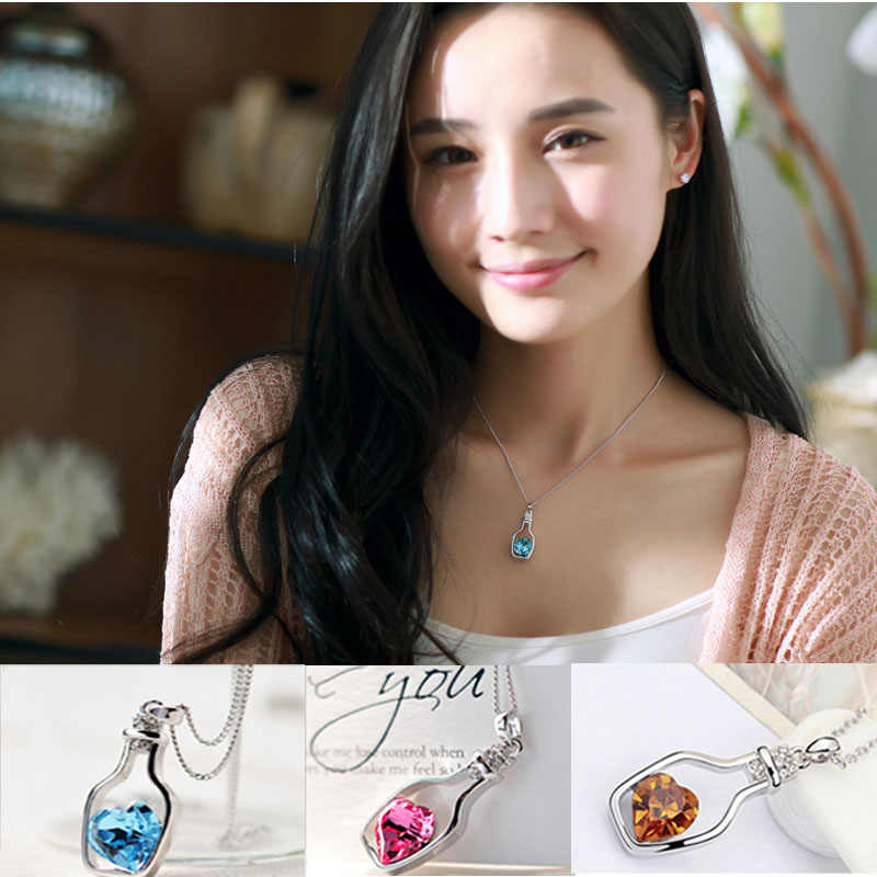 Stylish Wild Necklace Luxury Long Pendant Necklace Popular Crystal Heart Necklace Love Drift Bottles Luxury High Quality   L0326