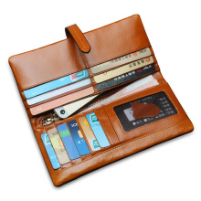 Men Womem Genuine Leather Couple Long Wallet Card Holder Pocket Handbag 2016 New