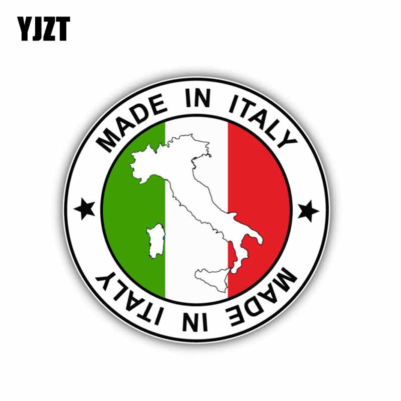 YJZT 10.9CM*10.9CM Personality Made In Italy Map Decal Car Sticker Flag Car Accessories 6-0875