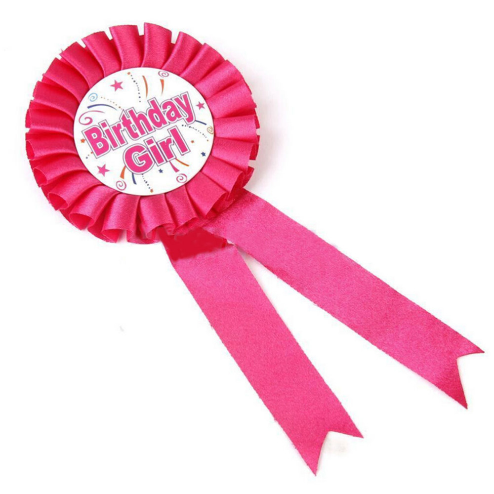 Pin On Ribbon Badge Pink Blue Boy Girls Birthday Badge