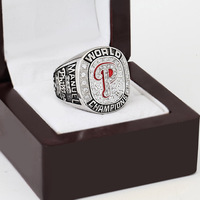 2008 PHILADELPHIA PHILLIES MLB World Series Championship Ring 10 13 Size With Cherry Wooden Case As