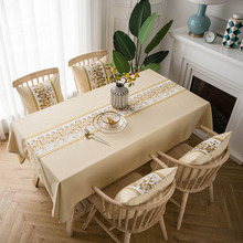 цена на Countryside Retro Tablecloth Solid Print Waterproof Thicken Rectangular Dining Table Cover Table Cloth Wedding Home Textile 2019