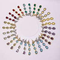 High Quality Titanium Steel Baoman Wind Sand Gold And Silver Color Irregular Cut Color Stone Long Earrings For Women